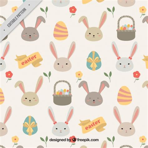 pretty easter eggs pretty pattern of bunnies and easter eggs vector free
