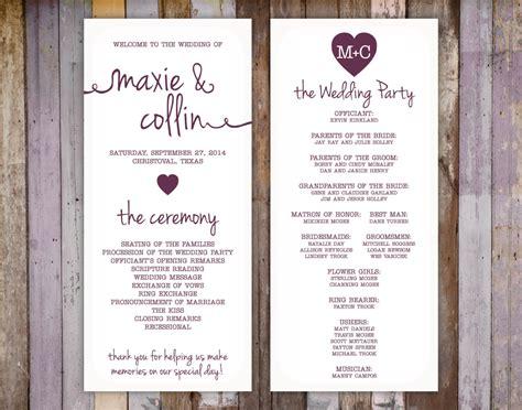 Wedding Ceremony Program by Wedding Ceremony Program Template Free Calendar Template