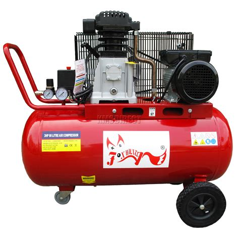 foxhunter air compressor 90l litre 3hp 8 bar electric 20 gallon with wheel new ebay