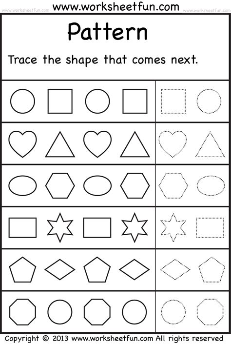pattern exercises kindergarten patterns trace the shape that comes next 2 worksheets