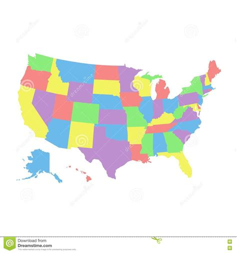 usa map with different states high detail usa map with different colors for each country