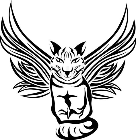 tattoo stencil paper wiki cat with wings tattoo stencil stock vector colourbox