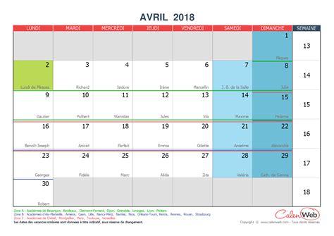 Calendrier 2018 Calenweb Avril 2018 Calenweb