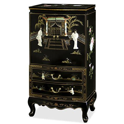 large black jewelry armoire chinese inspired design black lacquered wooden large free