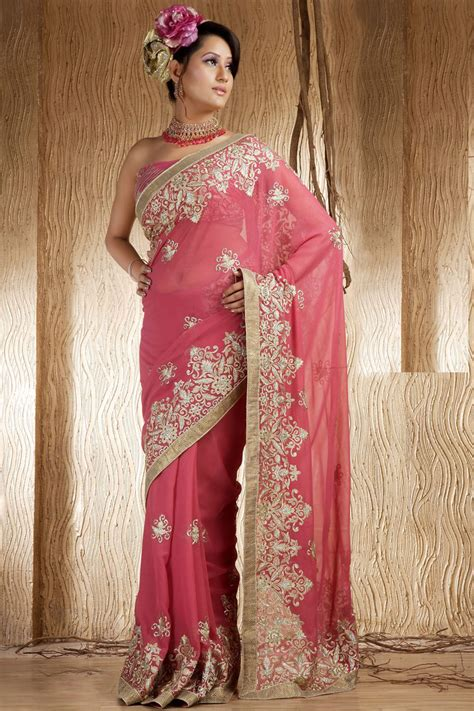 indian fashion salwar kameez saree sari sarees saris deep pink shimmer georgette wedding saree designer