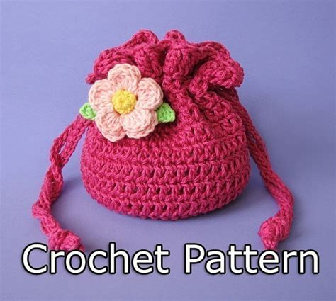 crochet pattern small bag pdf crochet pattern drawstring bag pouch