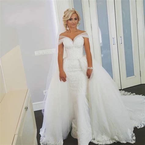 Wedding Dress With Detachable Skirt by Two Shoulder Lace Detachable Skirt Wedding Dress