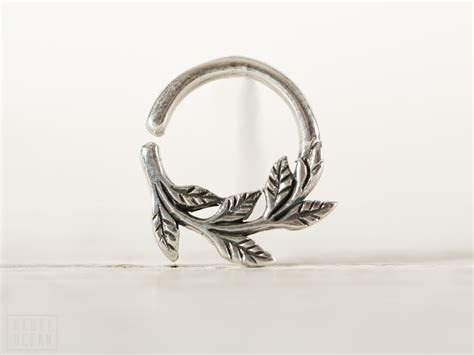 leaves septum ring nose ring jewelry sterling silver