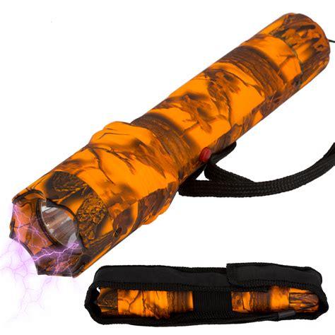 metal tactical tactical elite metal stun gun rechargeable led flashlight orange camo