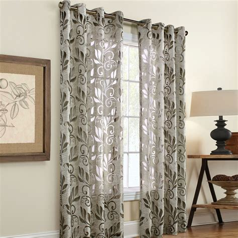 linen panel curtains amelia linen burnout grommet curtain panels