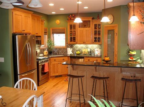 green color kitchen walls with oak cabinets green color
