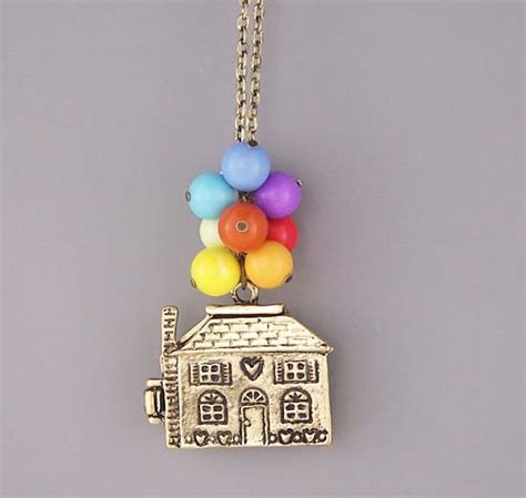 up necklace bronze house charm jewelry colorful bead