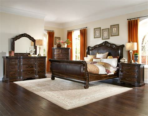 valencia traditional genuine leather upholstered sleigh valencia cal king upholstered sleigh bed from art 209147