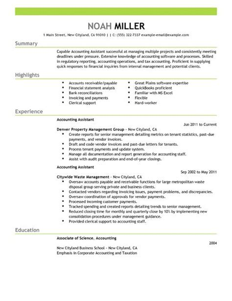 Resume Format Doc For Account Assistant Best Accounting Assistant Resume Exle Livecareer