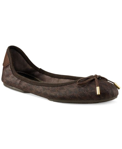 mk flats shoes michael kors michael mk city ballet flats in brown lyst