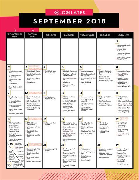 workout calendar your september 2018 workout calendar blogilates