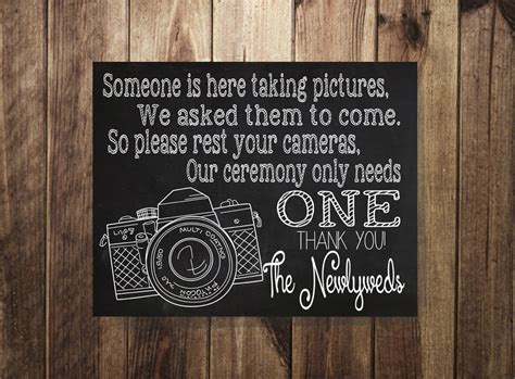 Unplugged Wedding Announcement by No Flash Photography Sign Unplugged Wedding Wedding Ceremony