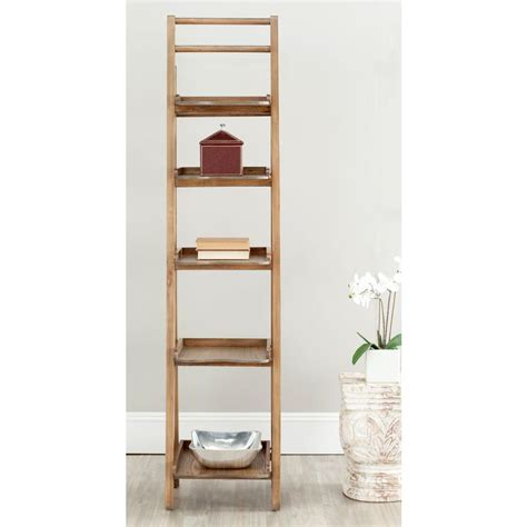 safavieh asher oak ladder bookcase amh6537d the home depot
