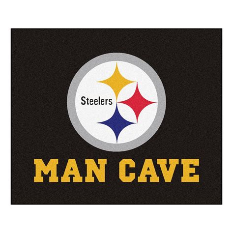 steelers area rug fanmats pittsburgh steelers black cave 5 ft x 6 ft area rug 14359 the home depot