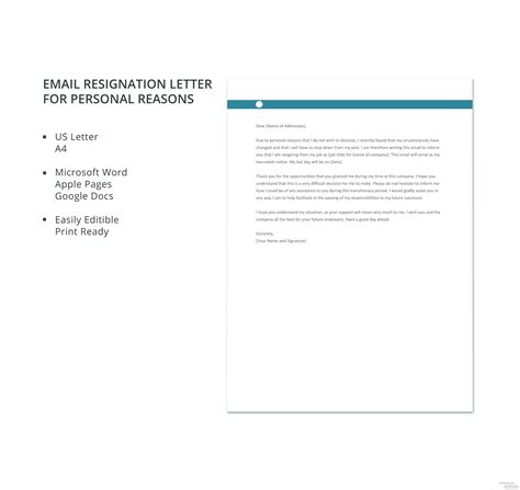 email resignation letter personal reasons template