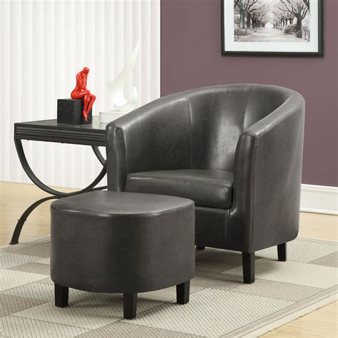 grey leather armchair and ottoman set accent chairs