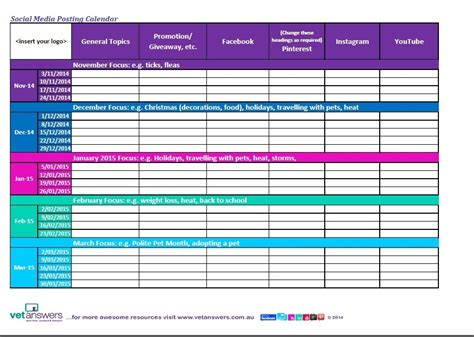 social media posting schedule template search results for social media calendar template excel