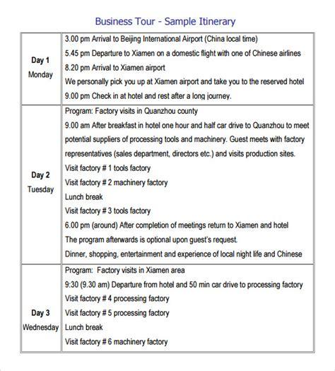 sample trip itinerary templates   sample templates