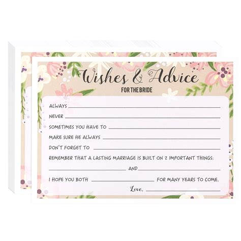 Wedding Advice And Well Wishes Cards by To Be Bachelorette Decoration And