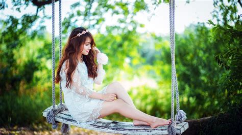 swing asia woman model swing nature photography bokeh wallpaper