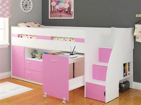 childrens bed with desk pink white single childrens supreme midsleeper storage