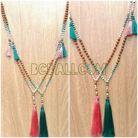 Bali Necklaces Handmade - mala necklaces wood tassels handmade bali mala necklaces