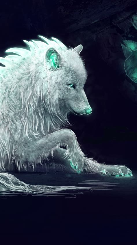 wallpaper white wolf arctic wolf fantasy digital art