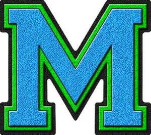Letter Pic Presentation Alphabets Light Blue Green Varsity Letter M