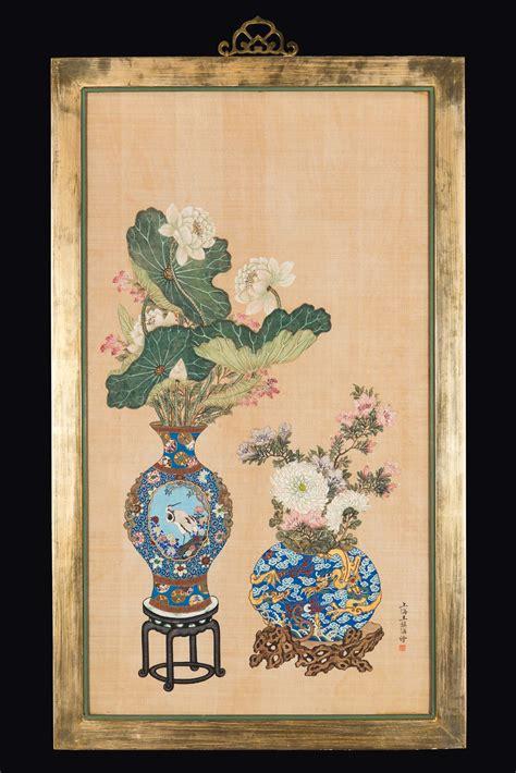 dipinti di vasi con fiori coppia di dipinti su seta incorniciati con vasi di fiori