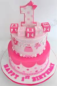 Celebrate with cake 1st birthday baby girl tier cake