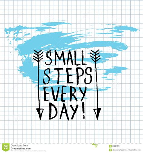 small steps small steps every day lettering calligraphy stock vector image 59221421