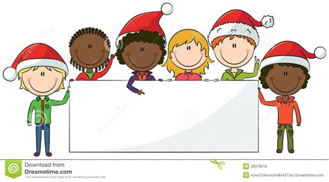 christmas kids with banner stock vector image of cute