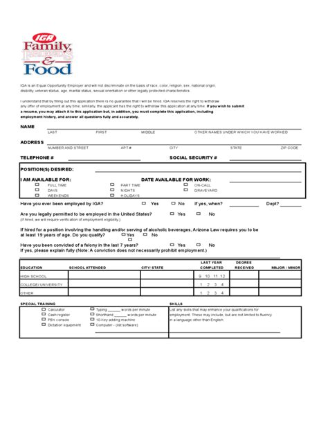IGA Job Application Form Free Download