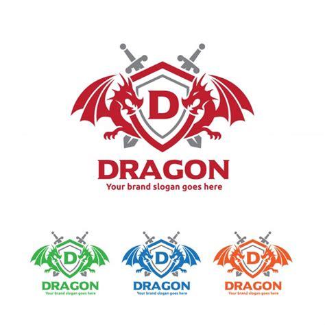 draken schild met zwaarden logo premium vector