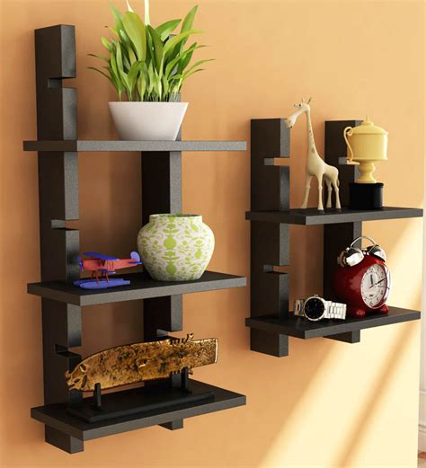 decorative items for home online home sparkle black ladder shelf by home sparkle online wall shelves home decor pepperfry