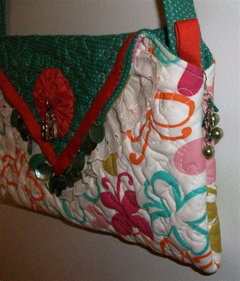 Handmade Quilted Bags - handmade quilted beaded purse handbag original design by