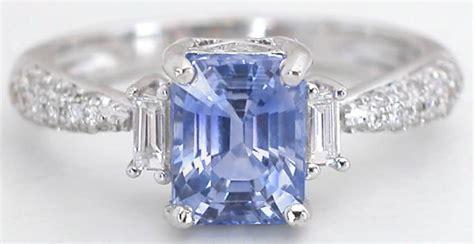 Light Sapphire Ceylon radiant blue light blue ceylon sapphire and baguette and