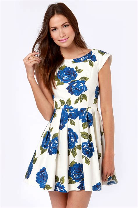 Blue Flowers Print Cocktail Dress mink pink feeling blue dress floral dress print dress