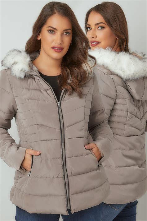 Modell S Gift Card Balance Check - taupe padded puffer coat with hood faux fur trim plus size 16 to 36