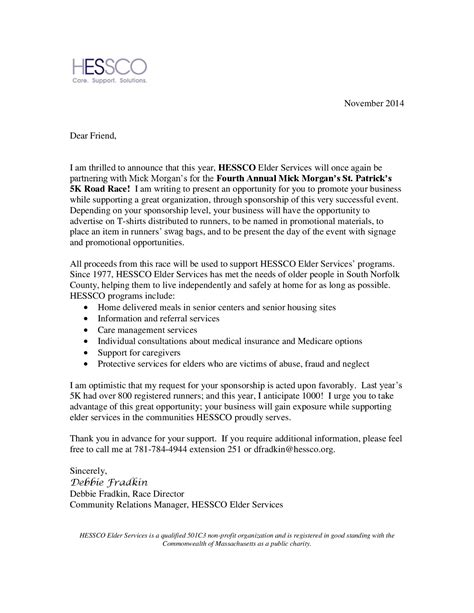 Sponsorship Executive Cover Letter by Hessco Sponsorship Letter