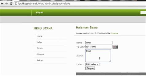 gratis absensi kehadiran siswa berbasis web dengan php source code php absensi kelas berbasis web hi codding