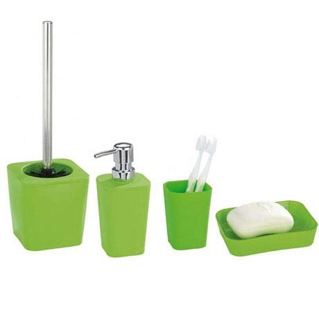 Green Bathroom Accessories Sets Wenko Rainbow Bathroom Accessories Set Green At Plumbing Uk