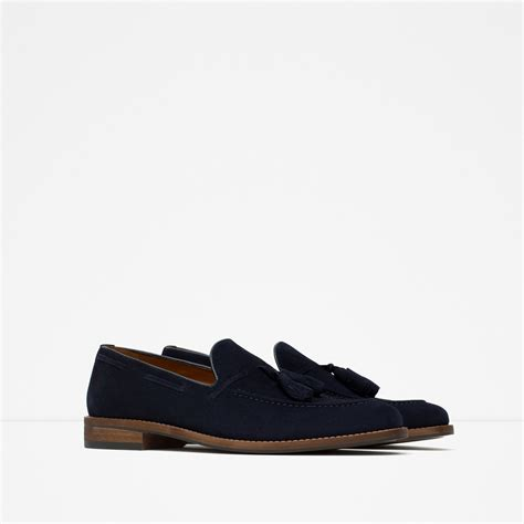 mens blue suede tassel loafers zara suede tassel loafers in blue for navy blue lyst