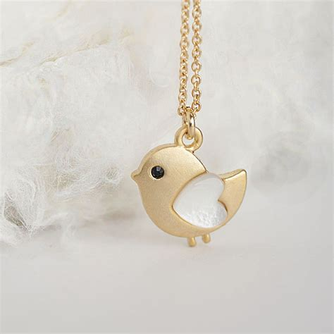 gold baby necklace tiny bird charm necklace