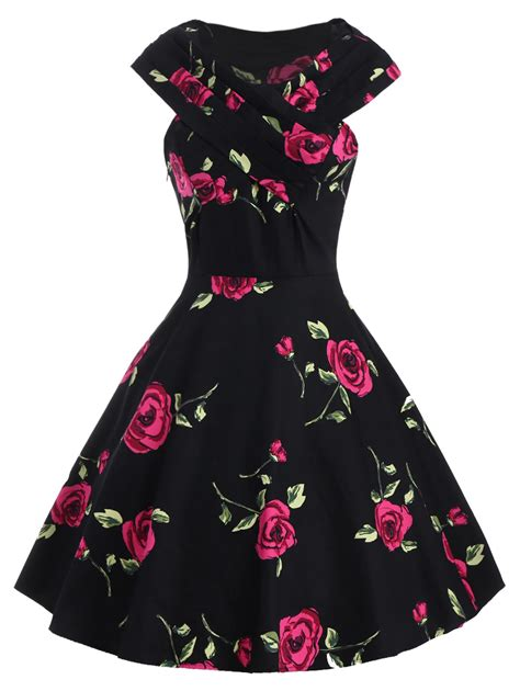 Pink Flower V Neck Dress S M L 18772 retro style s v neck print sleeve